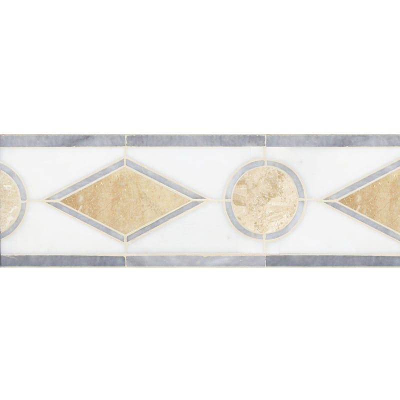 Afyon Gray, Afyon White, Diana Royal Multi Finish Octavian Marble Borders 6x12 1/16