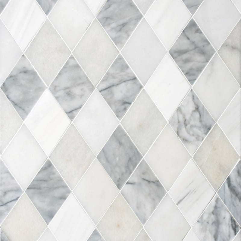 Afyon White, Avenza Light, Dolomite, Gla Multi Finish Almas Marble Mosaics 9 5/16x10 1/2