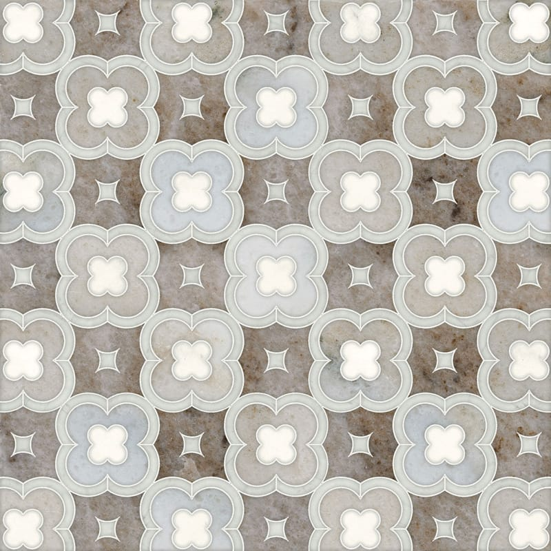 Avenza Light, Dolomite, Palisandra Multi Finish Damascus Marble Mosaics 11x11