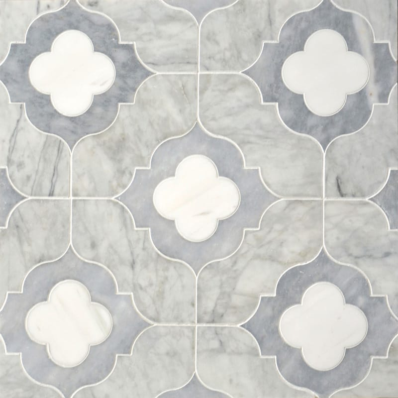 Afyon Grey, Avenza Light, Dolomite Multi Finish Irene Marble Mosaics 11 3/8x11 3/8