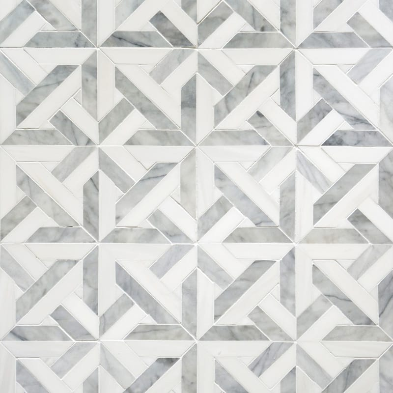 Avenza Light, Dolomite Multi Finish Marmara Marble Mosaics 9 11/16x9 11/16