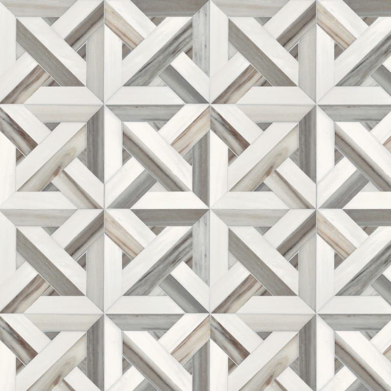 Dolomite, Skyline Vein Cut Multi Finish Marmara Marble Mosaics 9 11/16x9 11/16