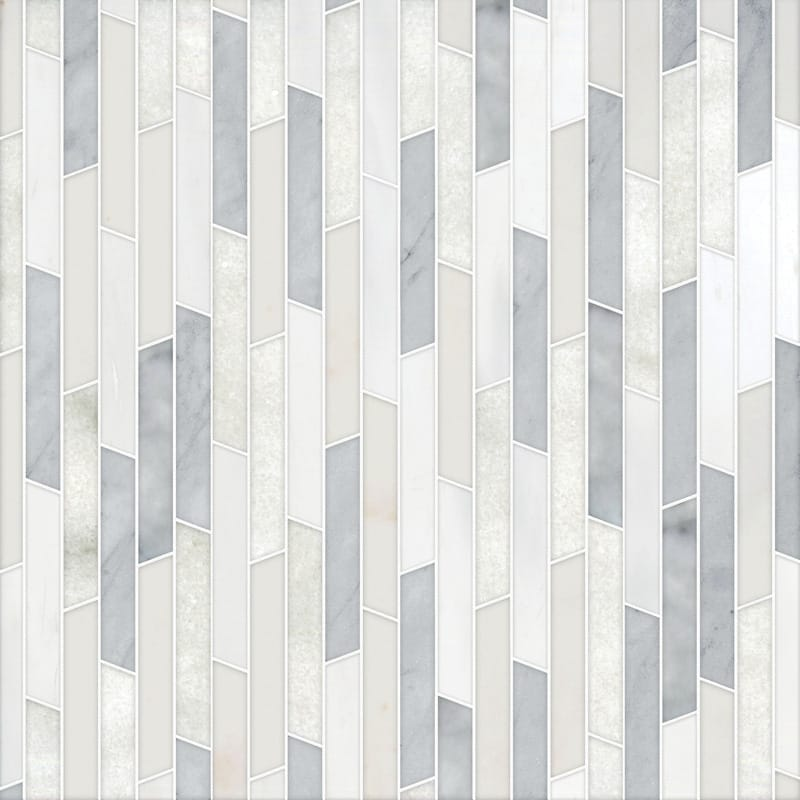 Afyon White, Avenza Light, Dolomite, Gla Multi Finish Rhodes Marble Mosaics 8 13/16x 14 5/16