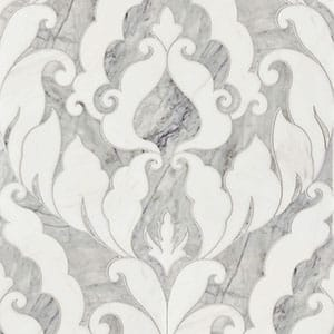 Avenza Dark, Dolomite Multi Finish Rumi Marble Waterjet Decos 13 9/16x18