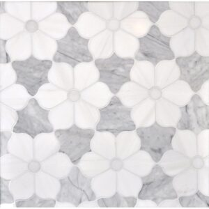 Afyon White, Avenza Dark, Dolomite Multi Finish Theodora Marble Waterjet Decos 12 1/8x14