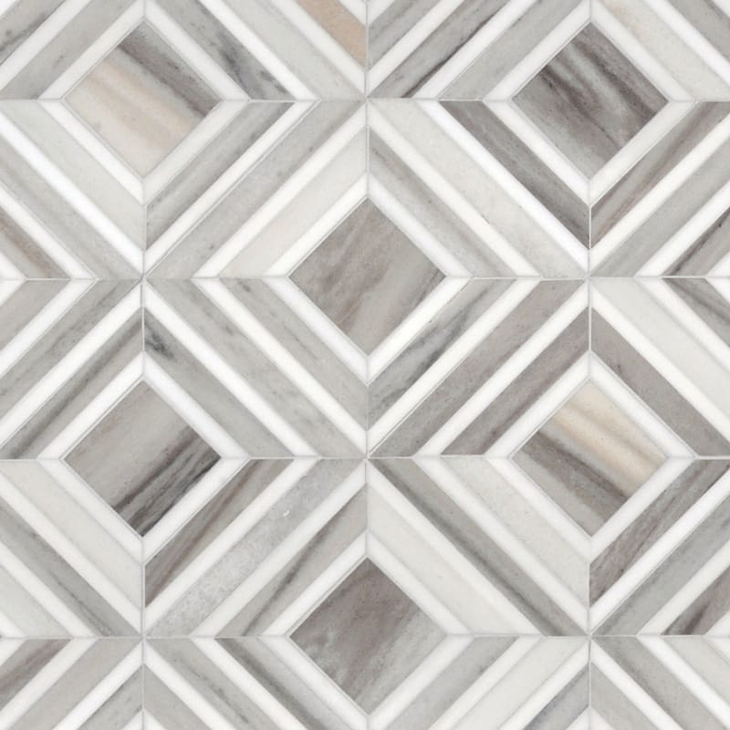 Dolomite, Skyline Vein Cut Multi Finish Yildiz Marble Mosaics 8 13/16x11