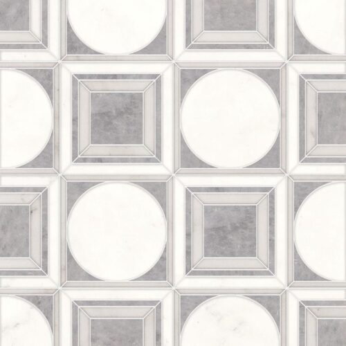 Afyon Grey, Afyon White, Dolomite Multi Finish Cicero Marble Waterjet Decos 12×12