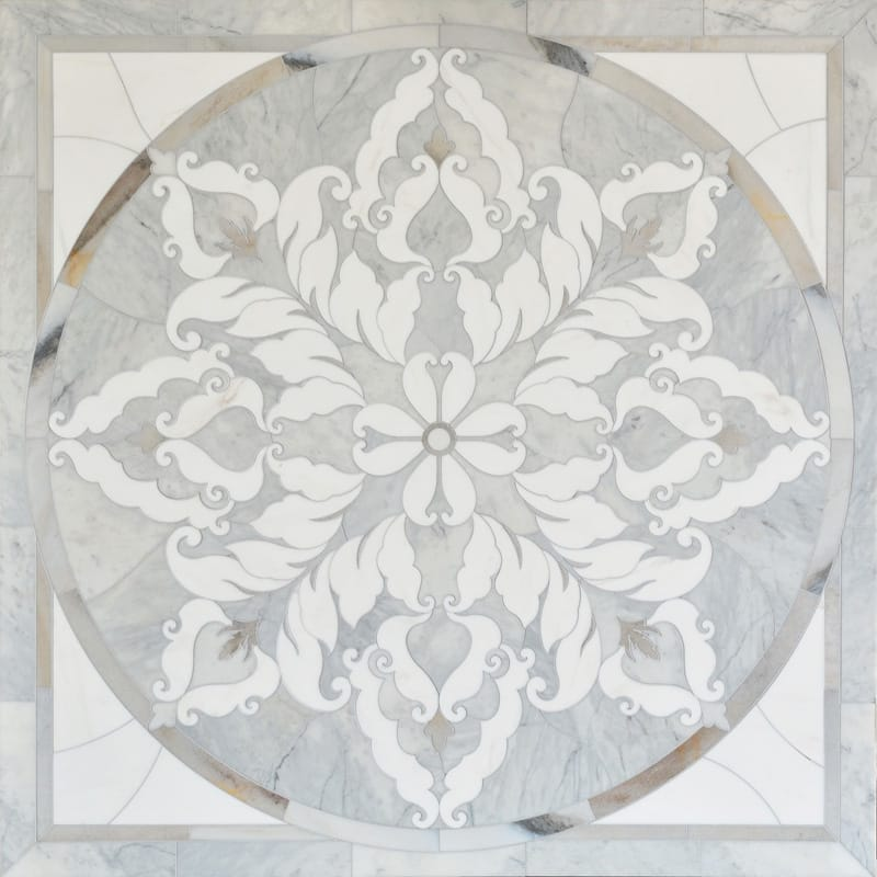 Avenza Light, Skyline Multi Finish Rumi Marble Medallions 48x48