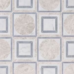 Silver Shadow, Glacier, Allure Light Multi Finish Cicero Marble Waterjet Decos 12x12