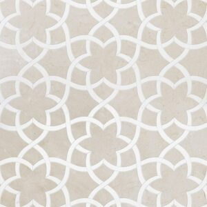 Crema Bella, Thassos White Or Aspen Whit Polished Isidore Marble Waterjet Decos 12 1/2x14 3/8