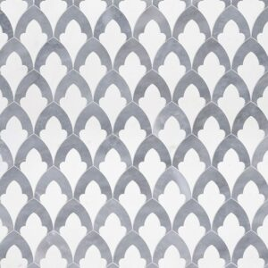 Aspen White, Allure Light Multi Finish Sophia Marble Waterjet Decos 8 3/4x13 1/2