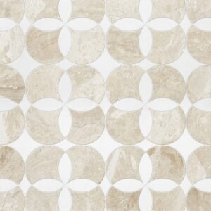 Diana Royal, Aspen White Multi Finish Constantine Marble Waterjet Decos 13 5/8x13 5/8