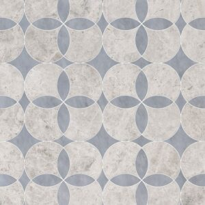 Silver Shadow, Allure Light Multi Finish Constantine Marble Waterjet Decos 13 5/8x13 5/8