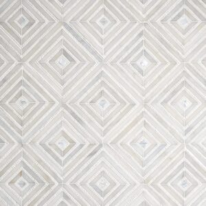 Afyon White, Thassos Multi Finish Bryce Marble Mosaics 12 13/16x12 13/16