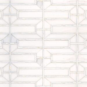 Dolomite, Shell Polished Mandarin Lattice Marble Mosaics 6 5/16x14 11/16