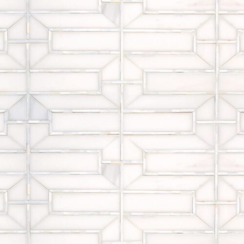 Dolomite, Shell Polished Mandarin Lattice Marble Mosaics 6 5/16×14 11/16