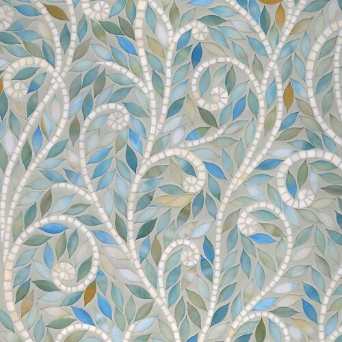 Aquamarine, Quartz Jewel Glossy Climbing Vine Glass Mosaics Custom
