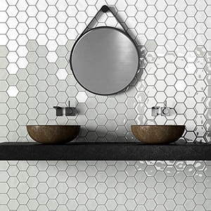 COLD GLOSSY HEXAGON 5 CERAMIC TILES (DC00256) ROYAL WHITE GLOSSY HEXAGON 5 CERAMIC TILES (DC00259)