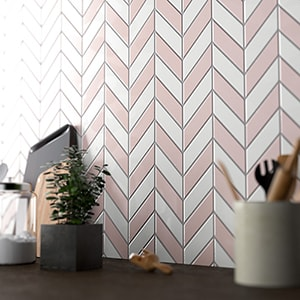 ROSIE GLOSSY CHEVRON CERAMIC TILES (DC00270) ROYAL WHITE GLOSSY CHEVRON CERAMIC TILES (DC00271)