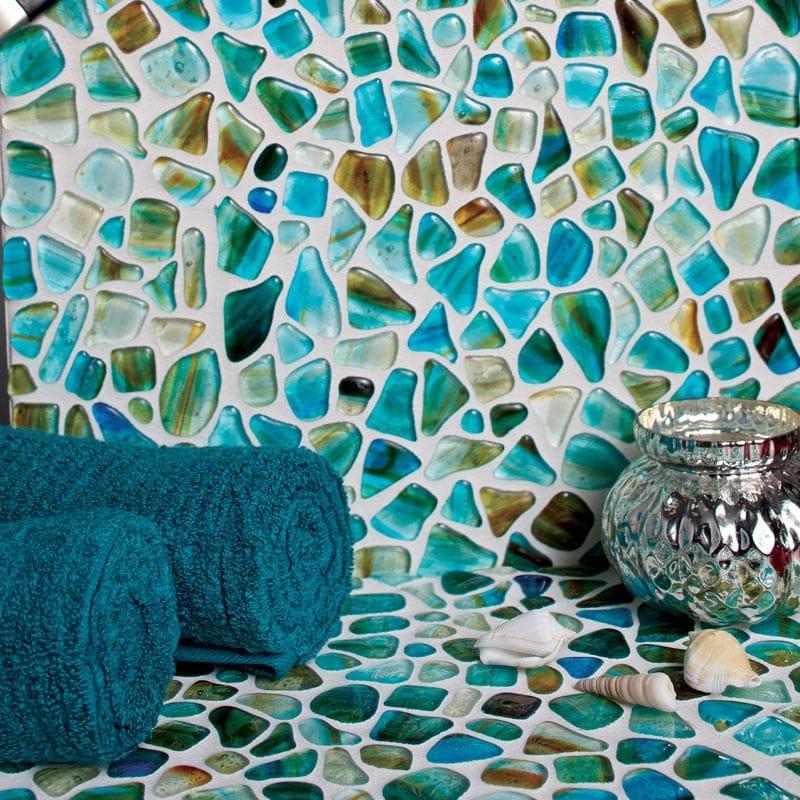 Aqua Marino Glossy Gloss Glass Mosaics 12x12