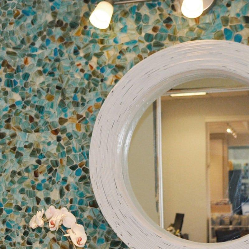 Aqua Marino Matte Beach Glass Mosaics 12x12