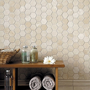 DELANO HONED ANDORRA MARBLE MOLDINGS (ML00514) DELANO HONED HEXAGON MARBLE MOSAICS (MS00687)