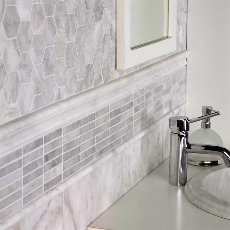 Avenza Honed 5/8x3 Marble Mosaics 12x12