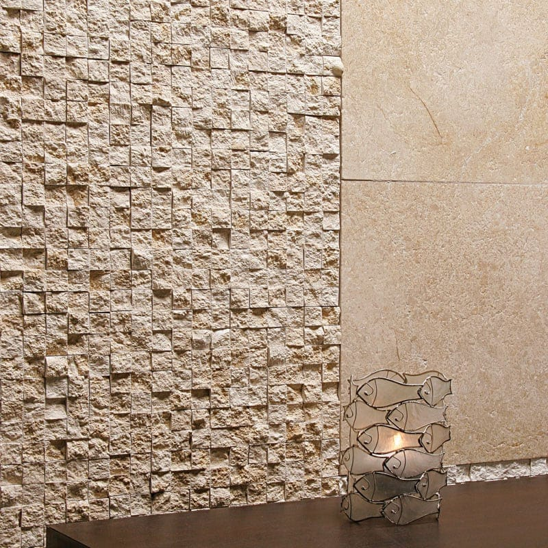SEASHELL ROCK FACE 1X1 LIMESTONE MOSAICS (MS00594) SEASHELL HONED LIMESTONE TILES (TL11943)
