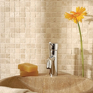 IVORY TUMBLED 1X1 TRAVERTINE MOSAICS (MS01004)