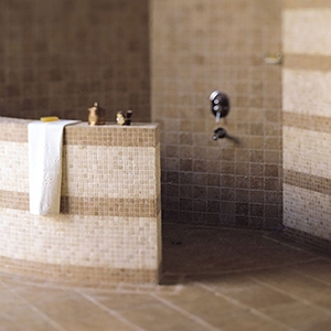 SYLVESTER BEIGE TUMBLED 1X1 MARBLE MOSAICS (MS01022) WALNUT DARK TUMBLED 2X2 TRAVERTINE MOSAICS (MS00046)