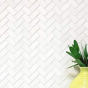SNOW WHITE POLISHED HERRINGBONE MARBLE MOSAICS (MS01239)