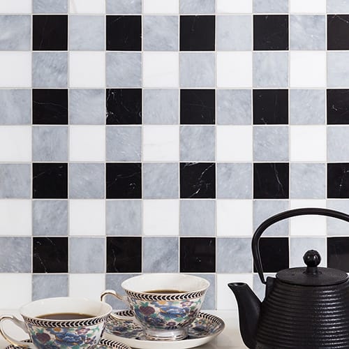 ALLURE LIGHT, SNOW WHITE, BLACK HONED 2X2 MARBLE MOSAICS (MS01712)