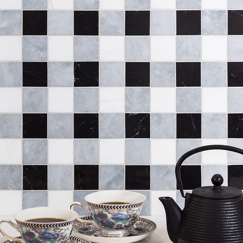 Allure Light, Snow White, Black Honed 2x2 Marble Mosaics 12x12