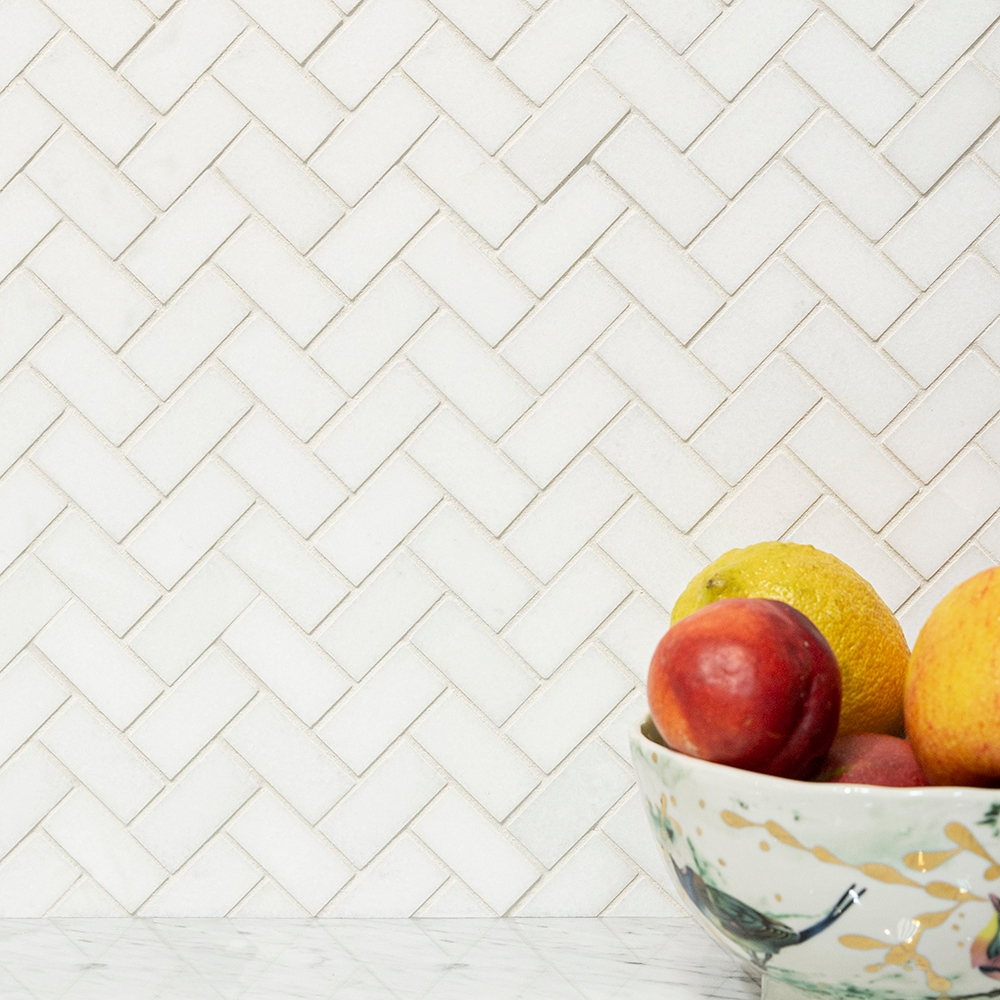 Thassos Honed Herringbone Marble Mosaics 12 1 8x13 3 8 Country Floors Of America Llc