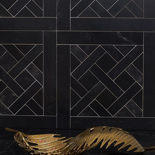 BLACK HONED PARQUET DE CHANTILLY MARBLE WATERJET DECOS (MS90278)