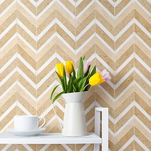 SEASHELL HONED&POLISHED CHEVRON FUSION MARBLE MOSAICS (NW00047)
