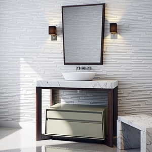 DARK WALNUT&HANCOCK METALLIK ORION CABINET# VANITIES (PS70008)