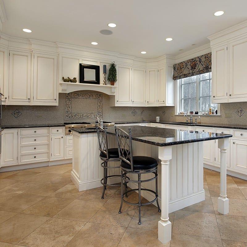 Kitchen Tiles Product: Walnut Dark Honed&filled Travertine Tiles 18x18