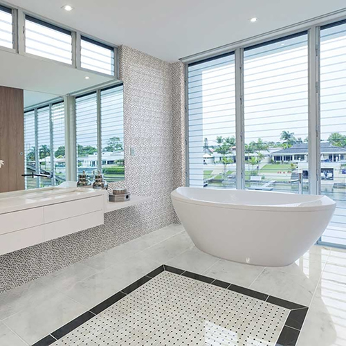 AVALON POLISHED MARBLE TILES (TL13372) AVALON POLISHED BASKET WEAVE MARBLE MOSAICS (MS00683)