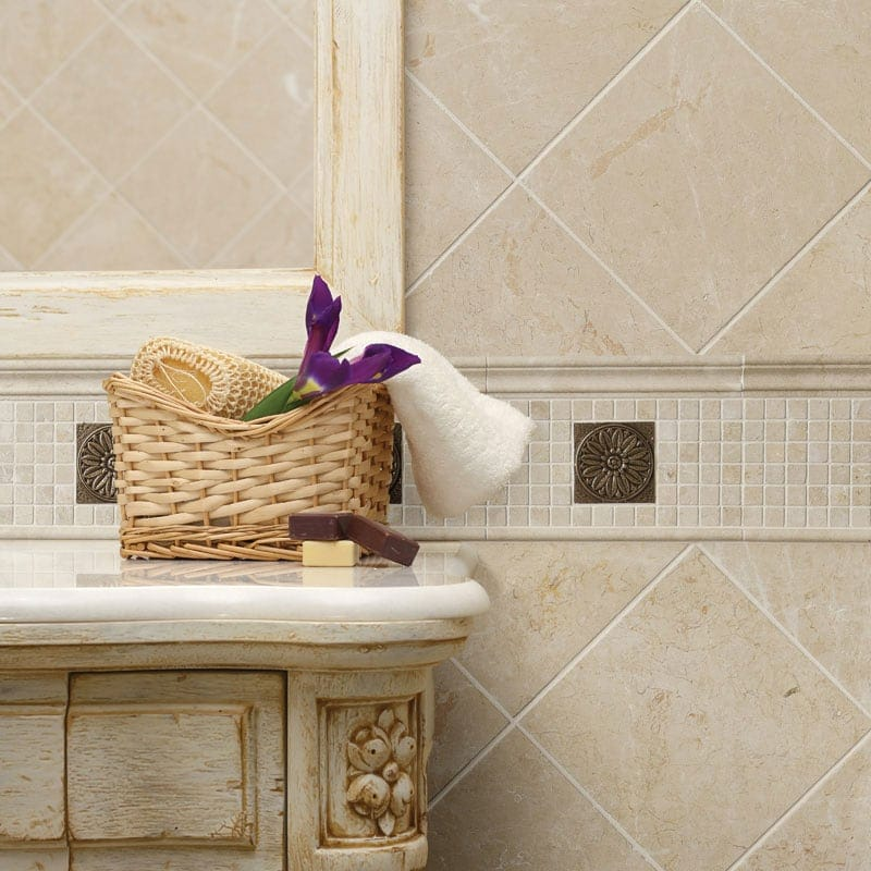 SYLVESTER BEIGE ANTIQUED MARBLE TILES (TL15307) SYLVESTER BEIGE HONED PENCIL LINER MARBLE MOULDINGS (ML00359) BRONZE BRUSHED ROSETTE METAL DECORATIVE  (PA00004)