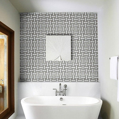 ASPEN WHITE HONED MARBLE TILES (TL16731) ASPEN WHITE HONED LATTICE MARBLE MOSAICS (MS01332)