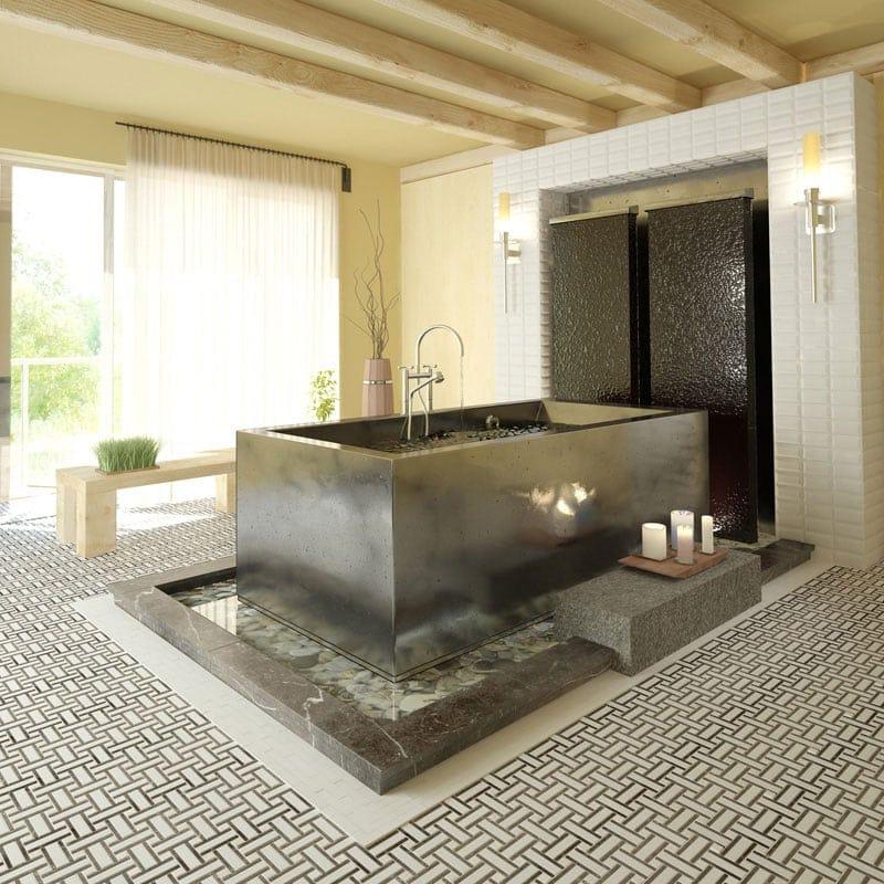 Aspen White Honed Lattice Marble Mosaics 12x12 Country