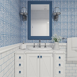 SOFT SEA BLUE GLOSSY FISHNET GALORE CERAMIC TILES (TL80434) SATIN COTTON MATTE CERAMIC TILES (TL18352)