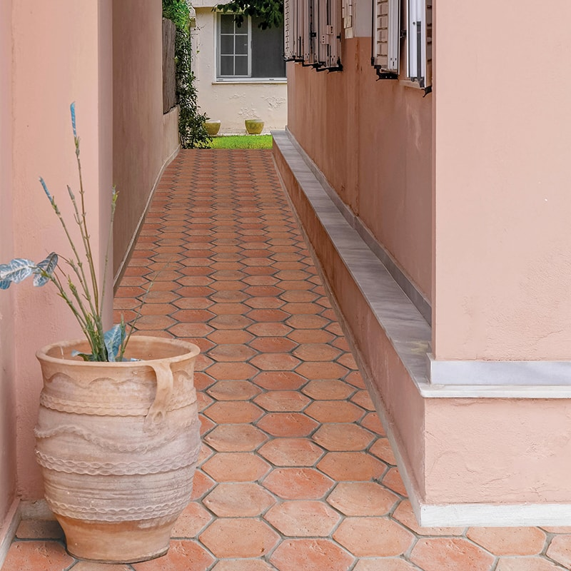 HEXAGON NATURAL TERRACOTTA TILES (TL90806)