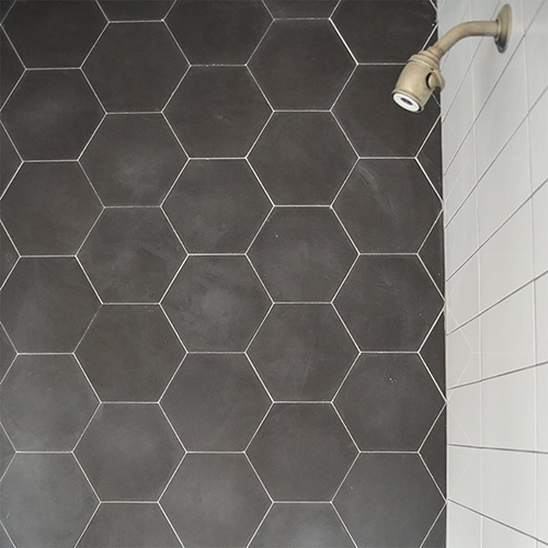HEXAGON NERO HONED CEMENT TILES (TL90838) WHITE ICE BRIGHT GLAZED PORCELAIN TILES (PT30079)