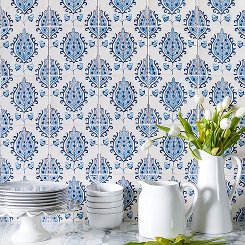 TULIPS CRACKLED CERAMIC TILES (TL91059)