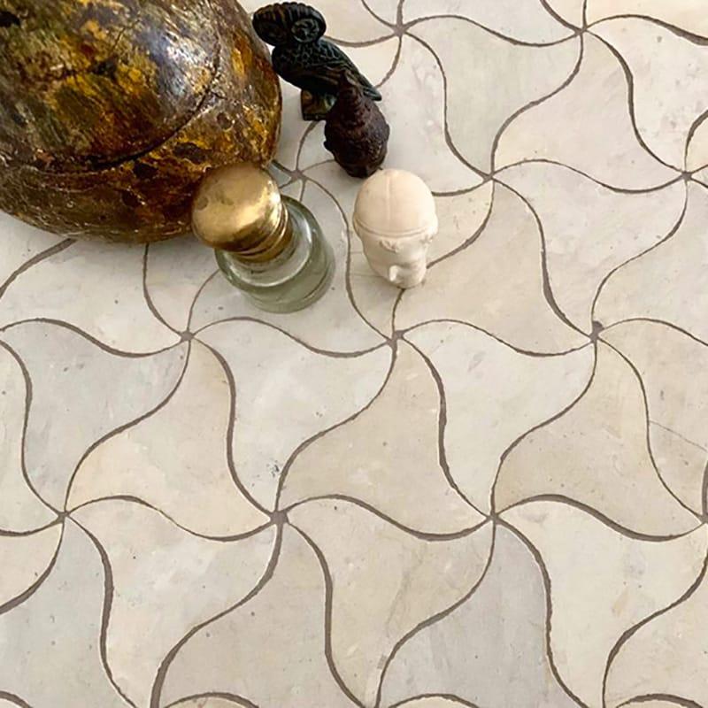 Bizerte Honed Limestone Mosaics 11 5/8x11 5/8