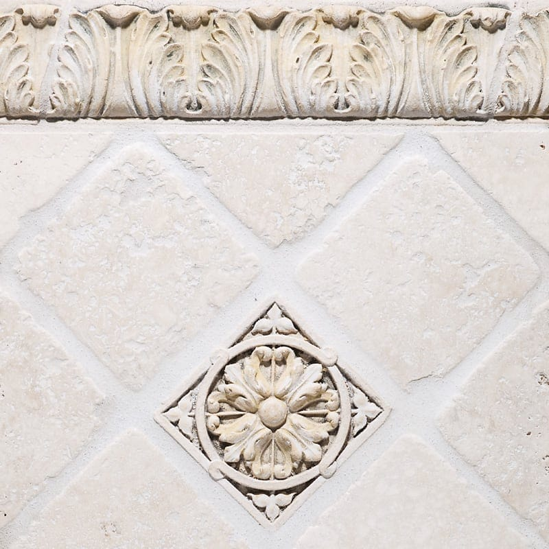 REEL AND BEAD ANTIQUED ARCHITECTURAL CERAMIC WALL DECOS (WEL10023) ACANTHUS BORDER ANTIQUED ARCHITECTURAL CERAMIC MOULDINGS (WEL10043) ROSETTE FIELD ANTIQUED ARCHITECTURAL CERAMIC WALL DECOS (WEL10035)