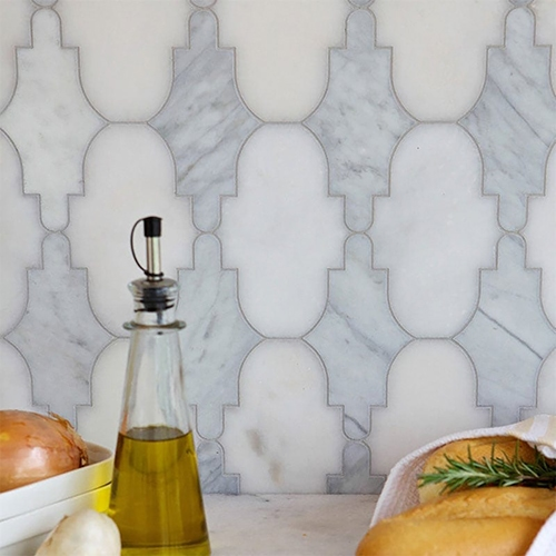 CURVE APPEAL VANILLA CREAM ANTIQUED MARBLE MOSAICS (WGL10026) CURVE APPEAL CHATEAU WHITE HONED MARBLE MOSAICS (WGL10027) AVENZA, AFYON WHITE MULTI FINISH CURVE APPEAL MARBLE WATERJET DECOS (WGL10028)
