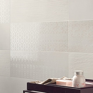 IVORY GLOSSY PORCELAIN TILES (WIS12244) DECORO IVORY GLOSSY PORCELAIN WALL DECO (WIS12248)